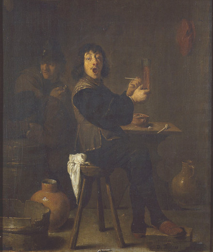 A classical oil painting with a dark brown tint shows a man sitting on a stool, holding a pipe. He looks at the viewer with a strong look of surprise, a very funny expression. He has probably just smoked and is amazed by the effect of it.