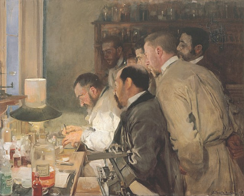 An impressionist oil painting shows a group of four men crouching over a lab table. The table is scattered with glass vases and scientific apparatures. They look fascinated by what the person sitting at the table is doing.