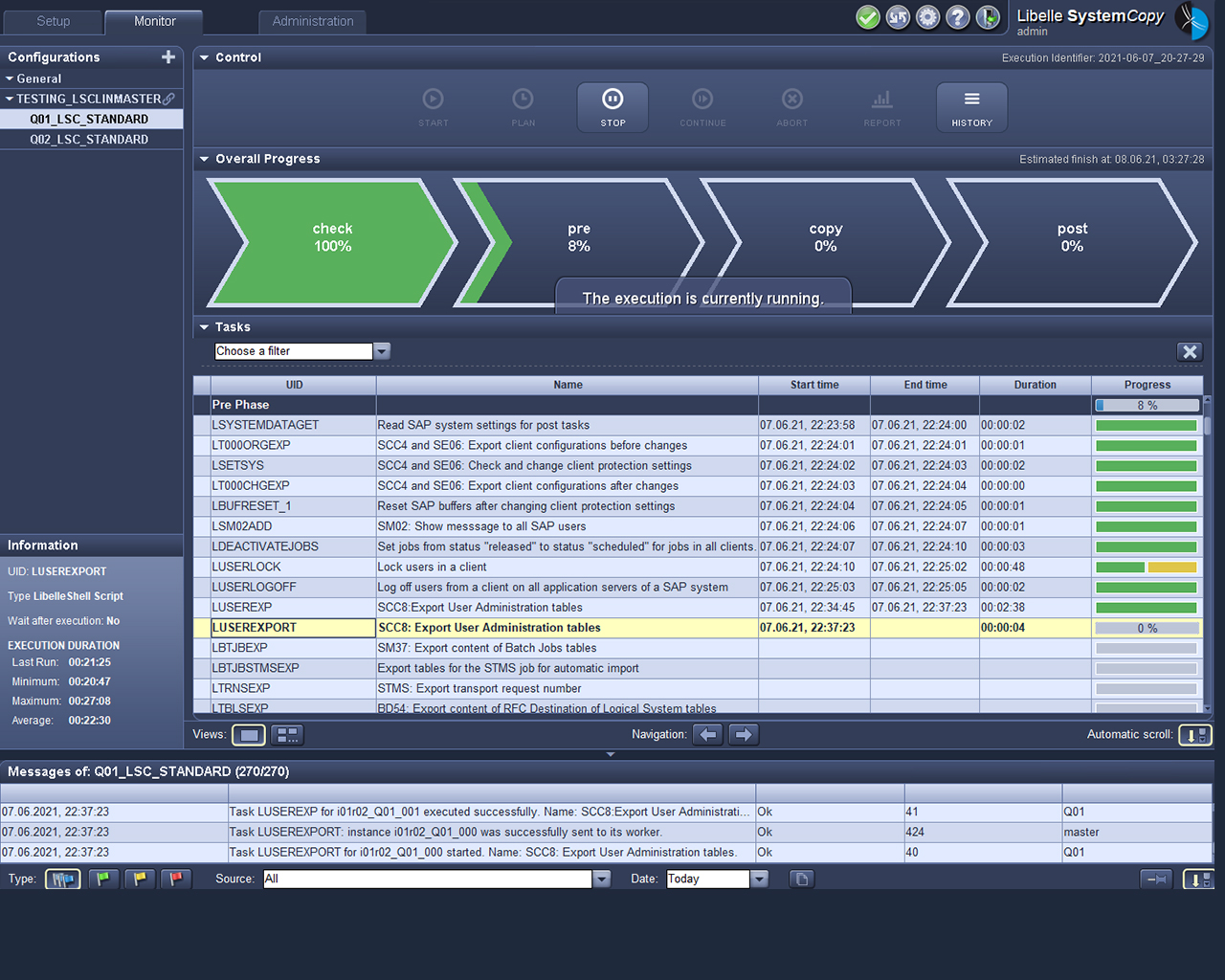 Libelle SystemCopy Frontend montre la pré-phase
