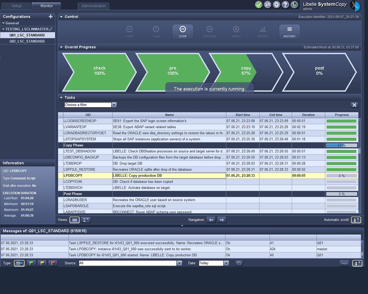 Libelle SystemCopy Frontend montre la phase de copie
