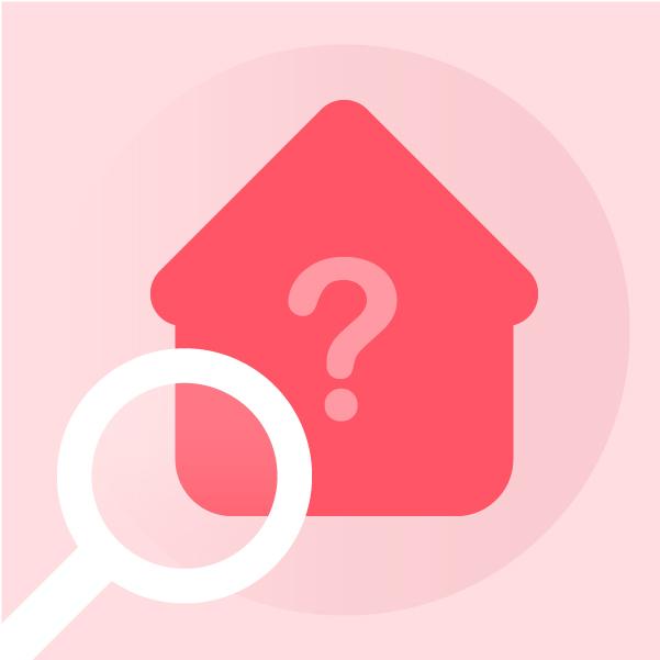 Ilustracion de una casa con una lupa de busqueda adentro