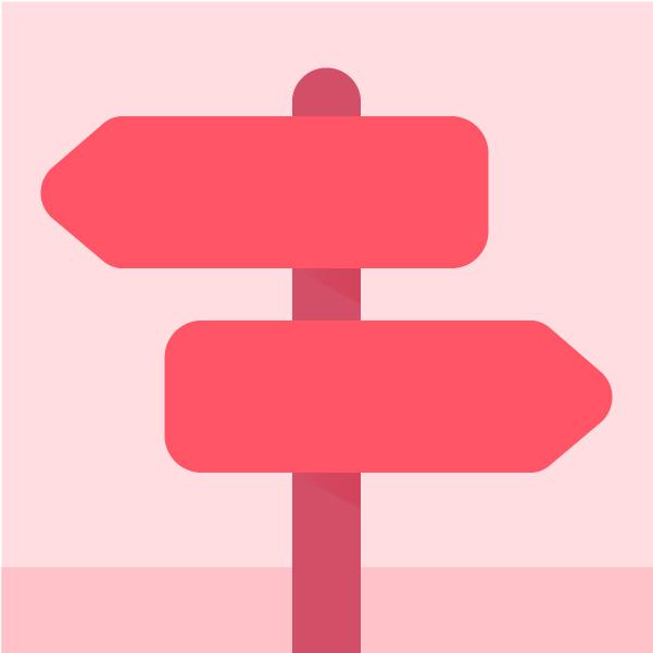 Ilustracion de letreros para indicar el camino correcto