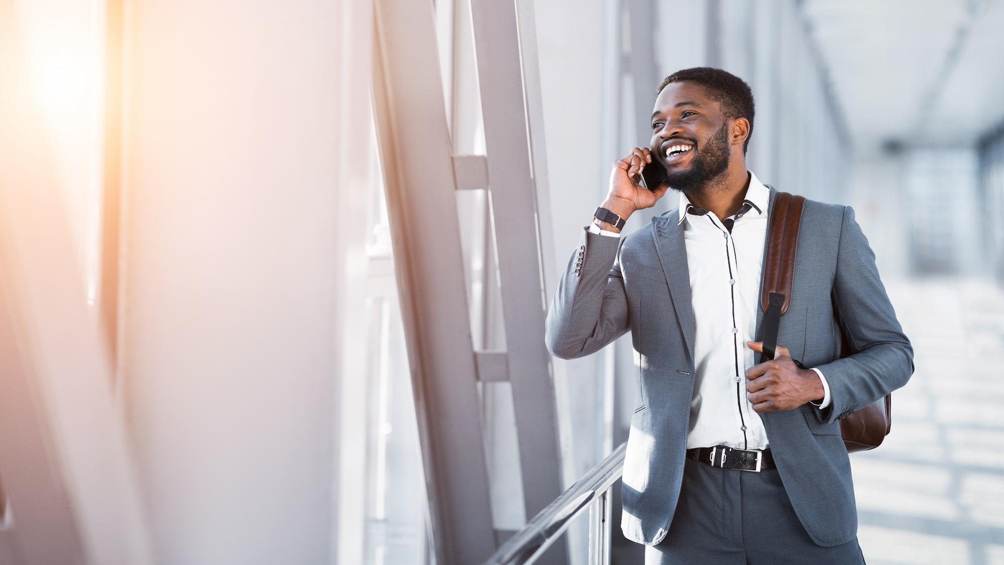 African American businessman on phone