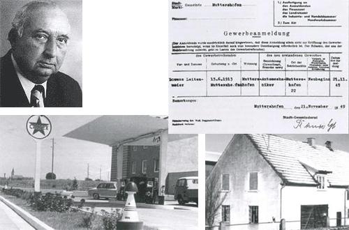 Collage der Gewerbeanmeldung von Lorenz Leitenmaier, damalige Garage sowie Portrait von Lorenz Leitenmaier