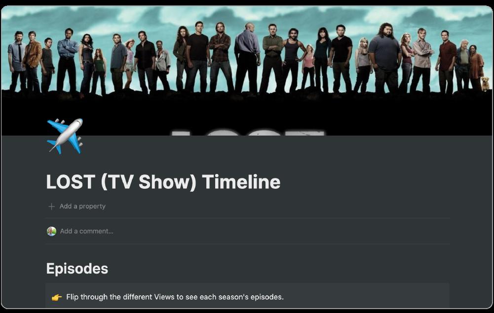 Lost TV Show Timeline dashboard using Notion work app