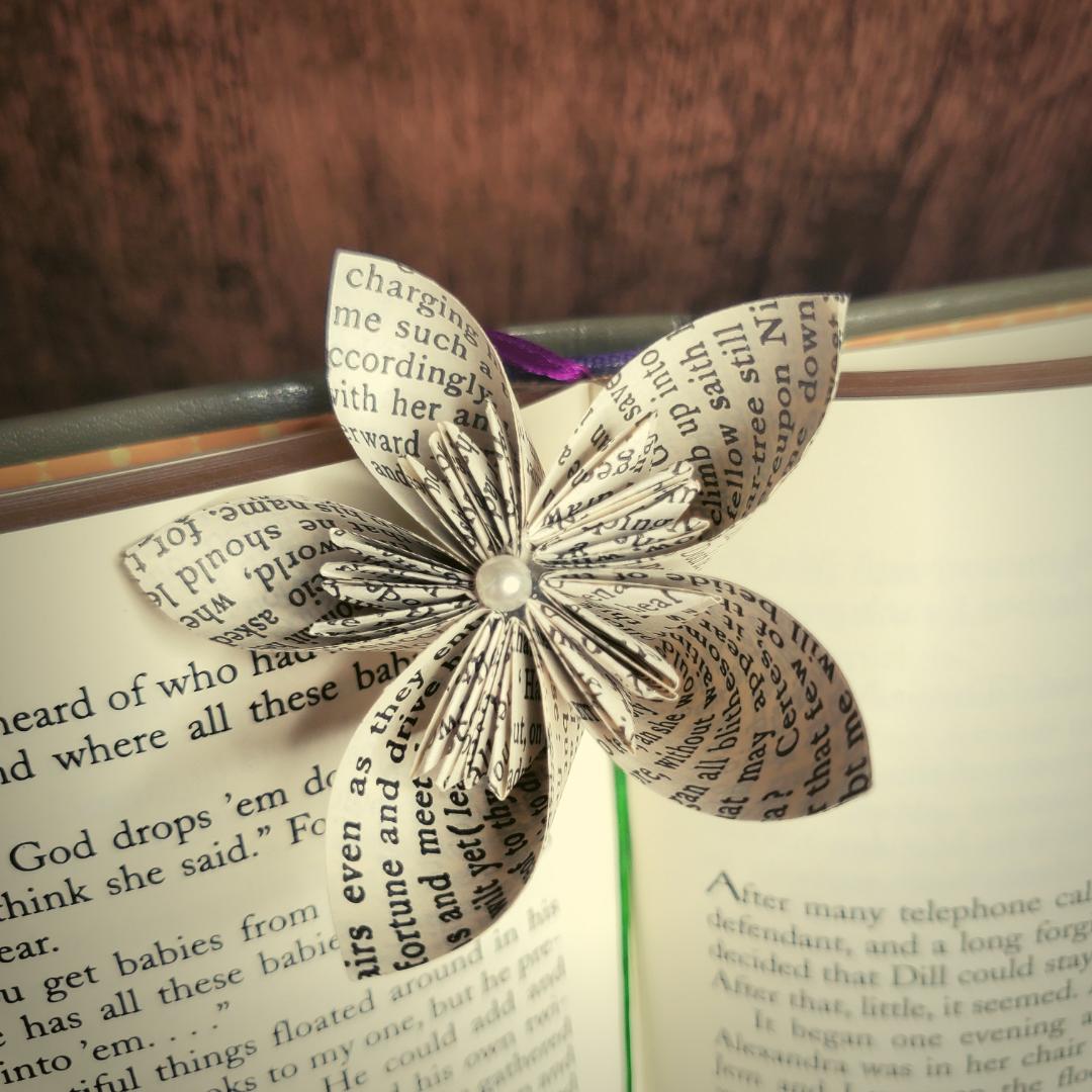 a kusudama flower in an open book