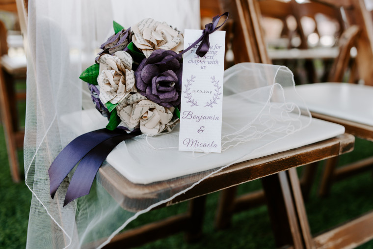 Purple and ivory bridal bouquet.