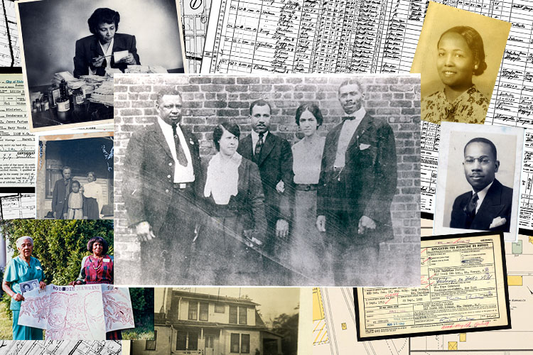 A collection of photographs and documents from Brandon's genealogical research.