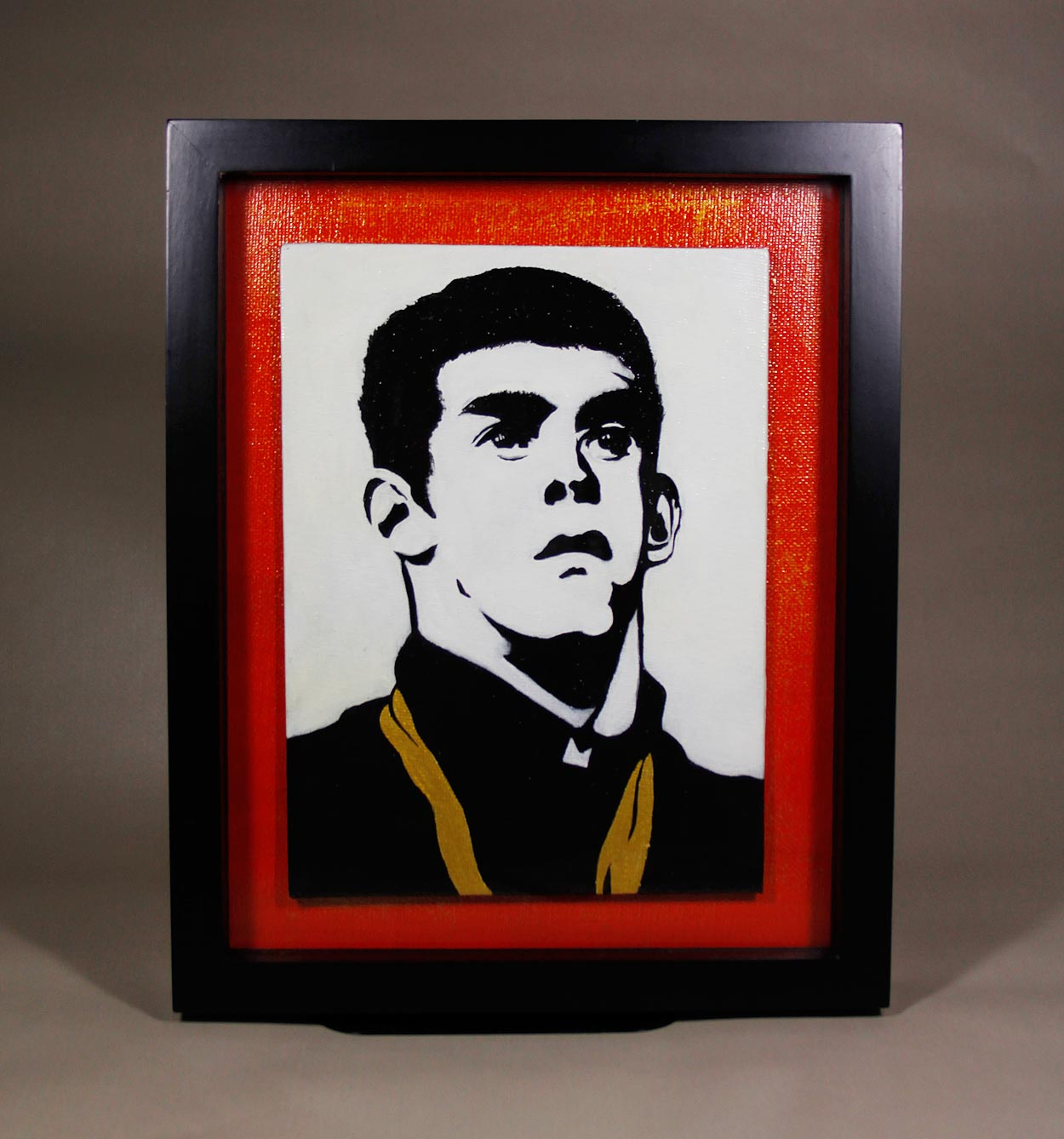Red, black, and white graphic acrylic painting of Michael Phelps.