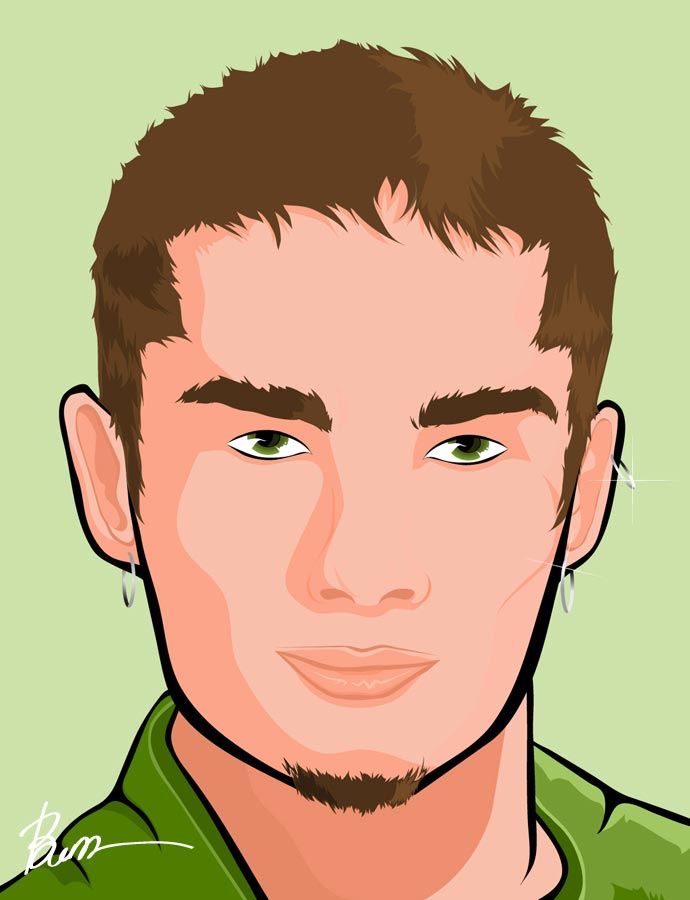 A graphic illustration of a college jock.