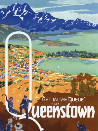 queenstown poster of old tourism