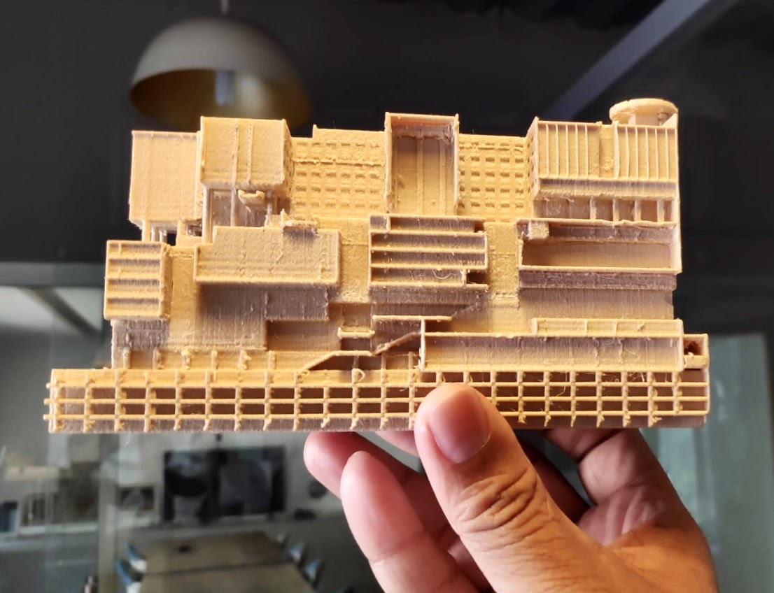 Crafting a 3D model of his architectural vision