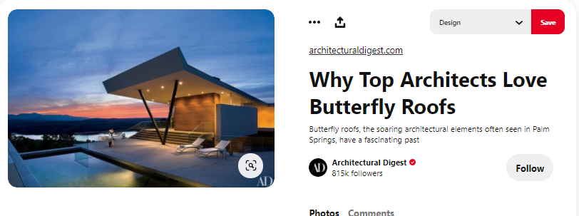 Architects' search for butterfly roofs on Pinterest