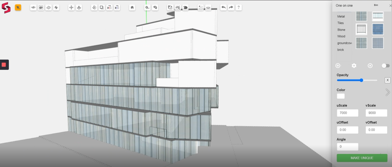 Applying materials on Snaptrude BIM design software