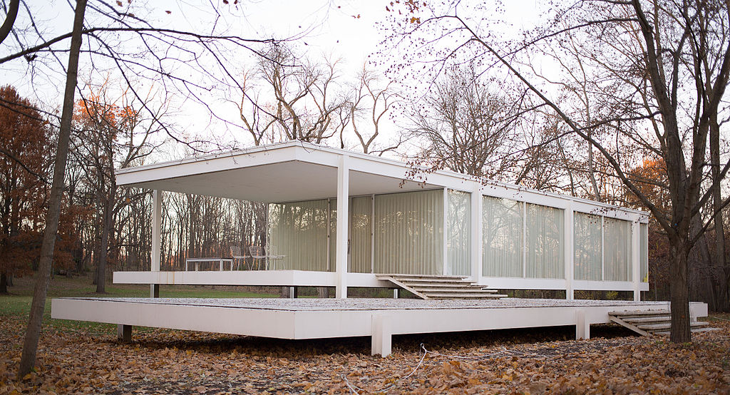 Farnsworth House completed in 1951 by Ludwig Mies van der Rohe