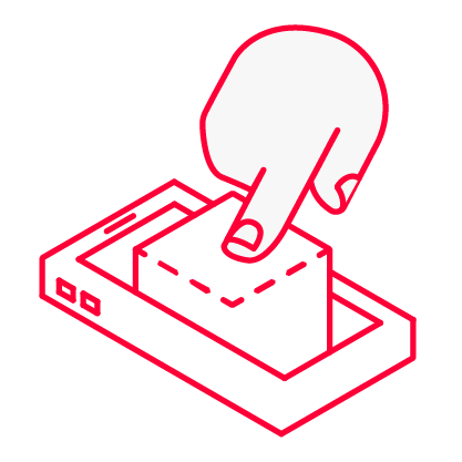 Icon für Kreation von einem Finger der ein Smartphone berührt