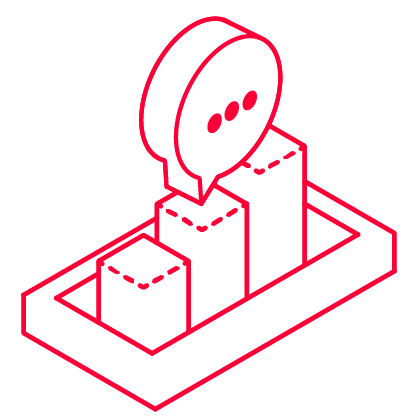 Icon für Beratung mit einer Statistik und einer Sprechblase