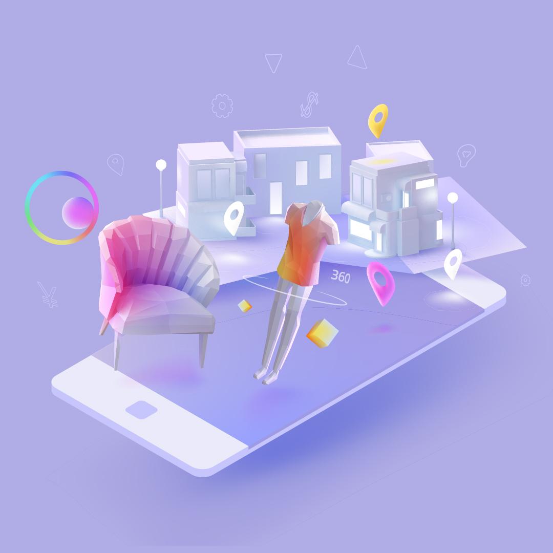 Eine 3D Grafik von kleinen Einkaufsläden, einer Puppe und einem Sessel