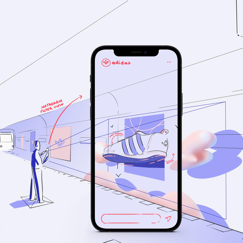 Eine Zeichnung von einem Smartphone das ein Poster scant