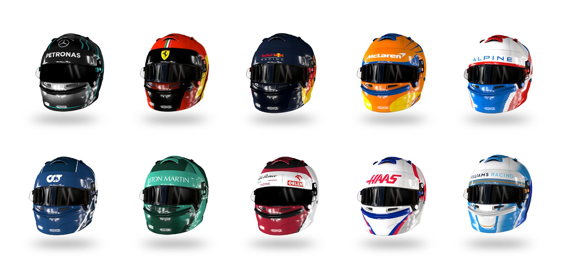 3D Renderings von Formel 1 Helmen.
