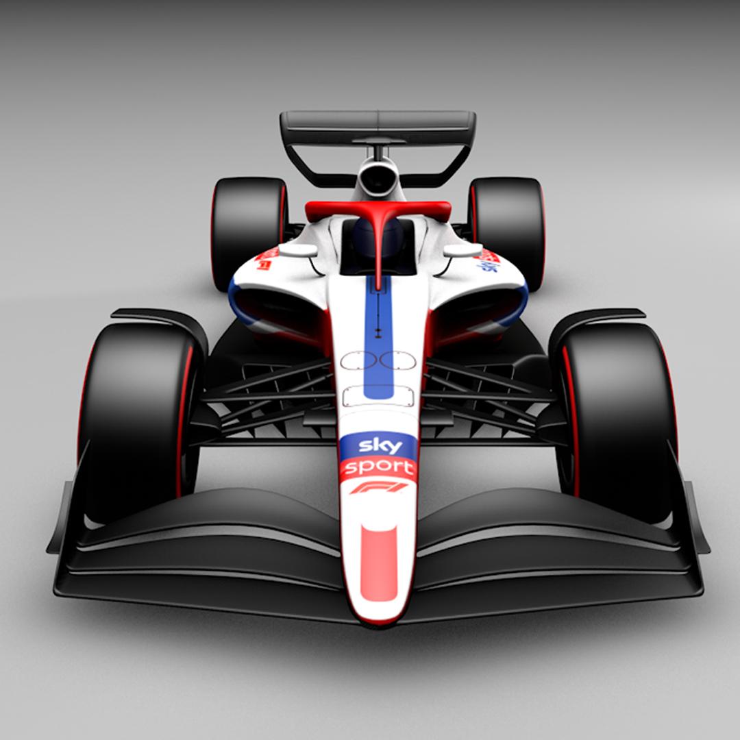 Ein 3D Rendering von einem Formel 1 Auto.