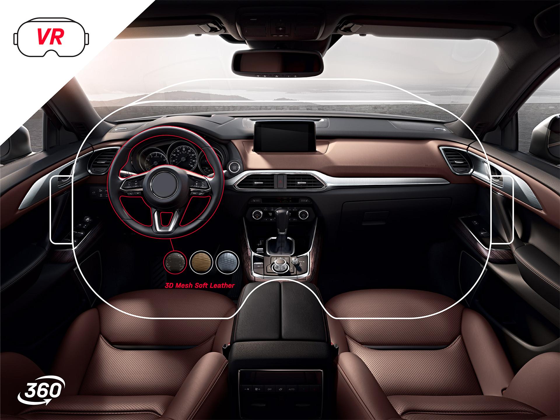 Ansicht einer in-game VR-Brillenansicht. Damit kann interaktiv die Innenausstattung eines Autos personalisiert werden.