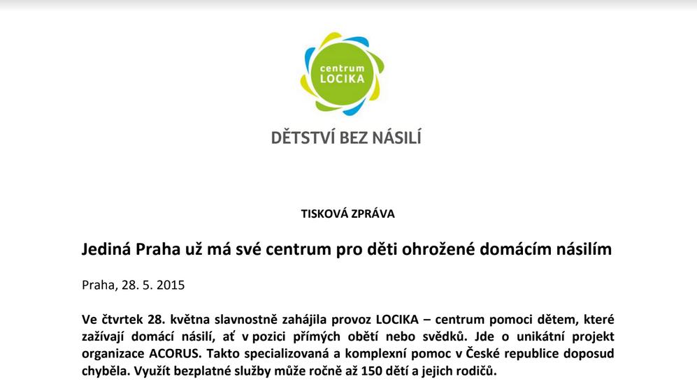 Ve čtvrtek 28. května slavnostně zahájila provoz LOCIKA – centrum pomoci dětem, které zažívají domácí násilí.