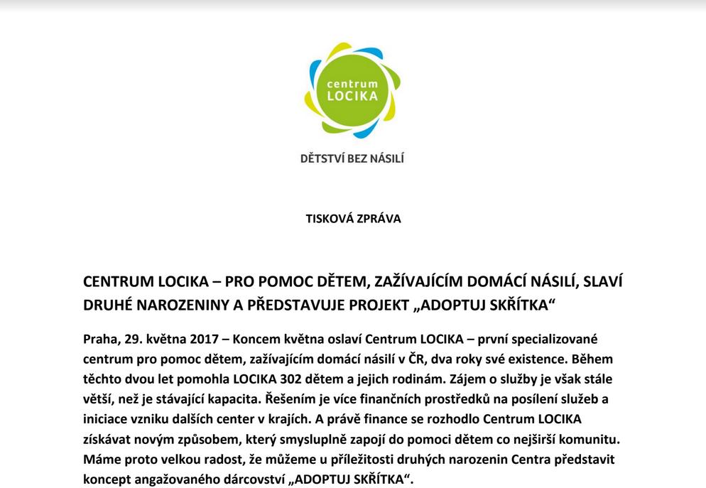 Koncem května oslaví Centrum LOCIKA – první specializované centrum pro pomoc dětem, zažívajícím domácí násilí v ČR, dva roky své existence.