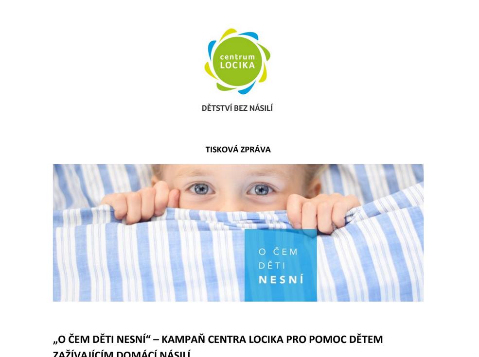 """Centrum LOCIKA pořádá kampaň s názvem """"O ČEM DĚTI NESNÍ""""."""