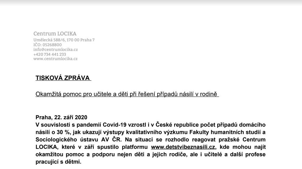 Na situaci se rozhodlo reagovat pražské Centrum LOCIKA, které v září spustilo platformu www.detstvibeznasili.cz.