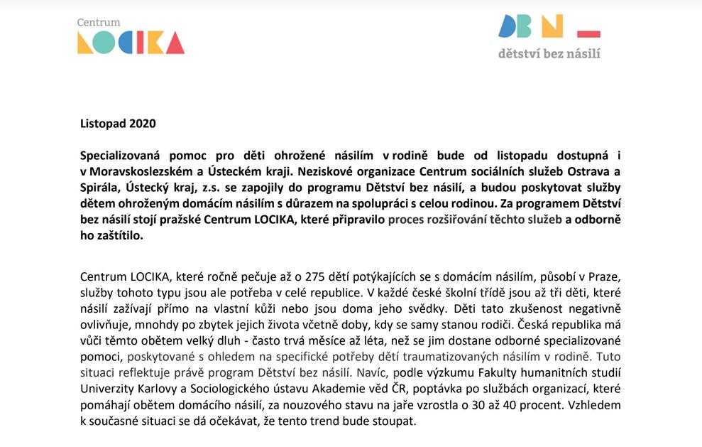 Neziskové organizace Centrum sociálních služeb Ostrava a Spirála, Ústecký kraj, z.s. se zapojily do programu Dětství bez násilí.