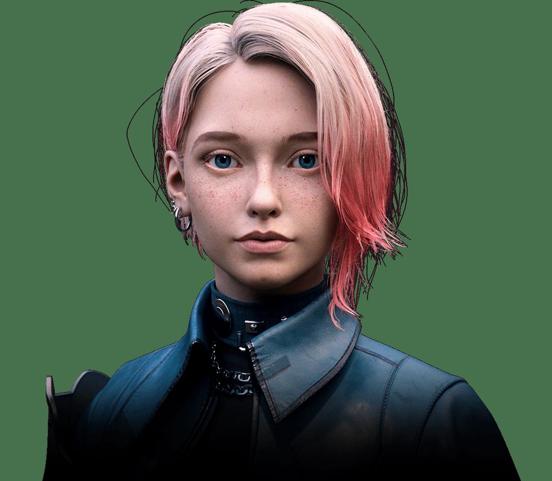 A pink-hair girl