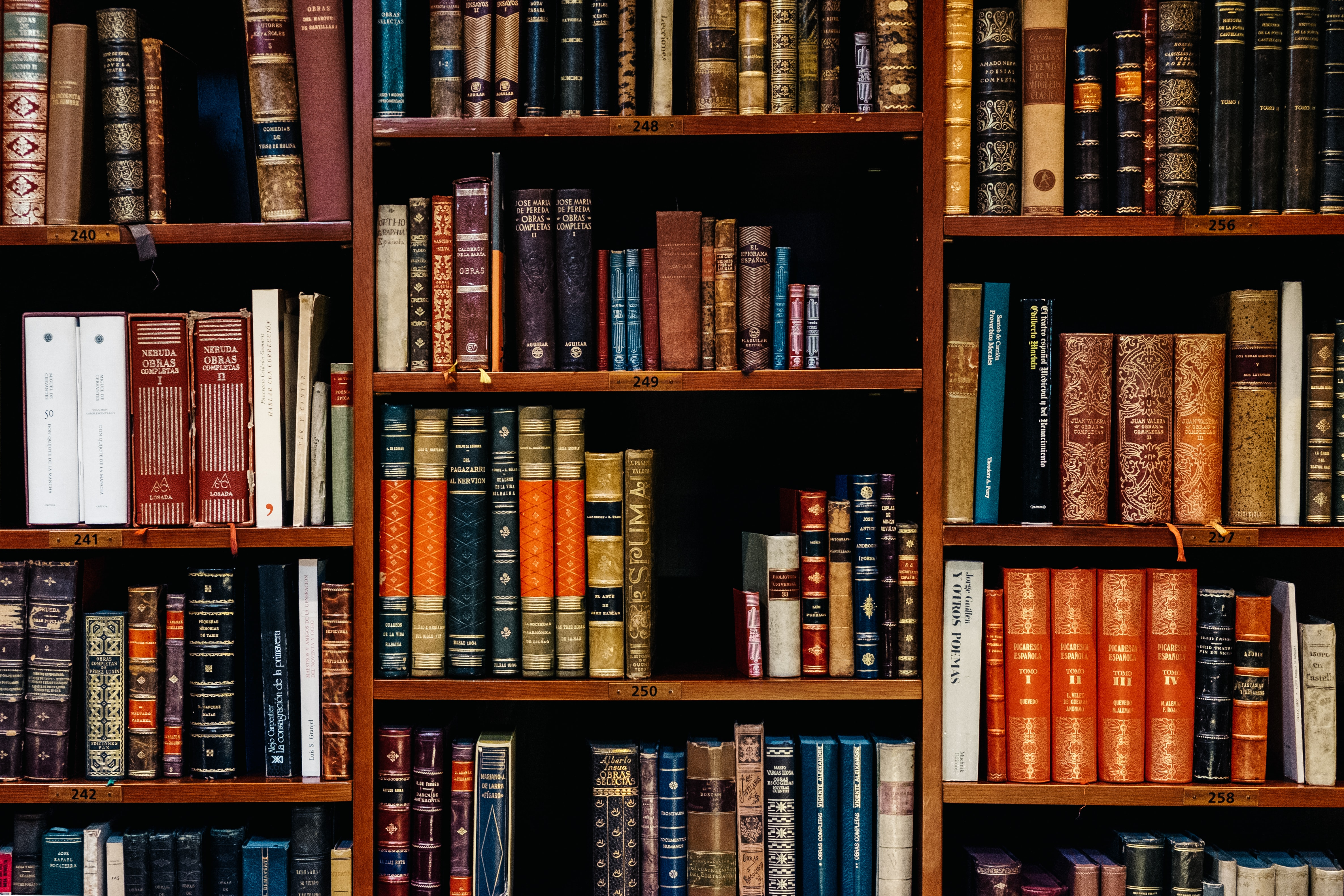 An image of a bookshelf full of law books.