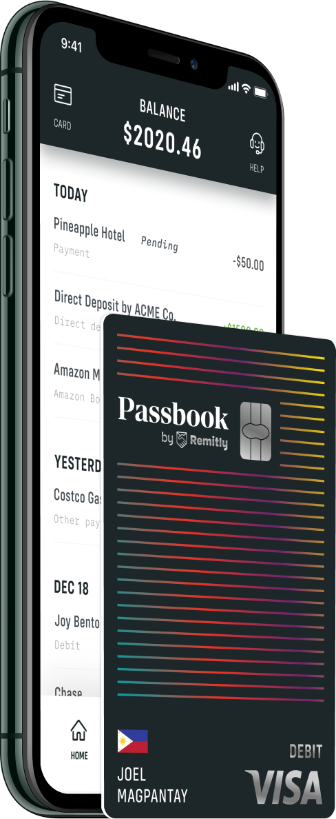 An iPhone showing a banking app with a premium looking debit card positioned next to it