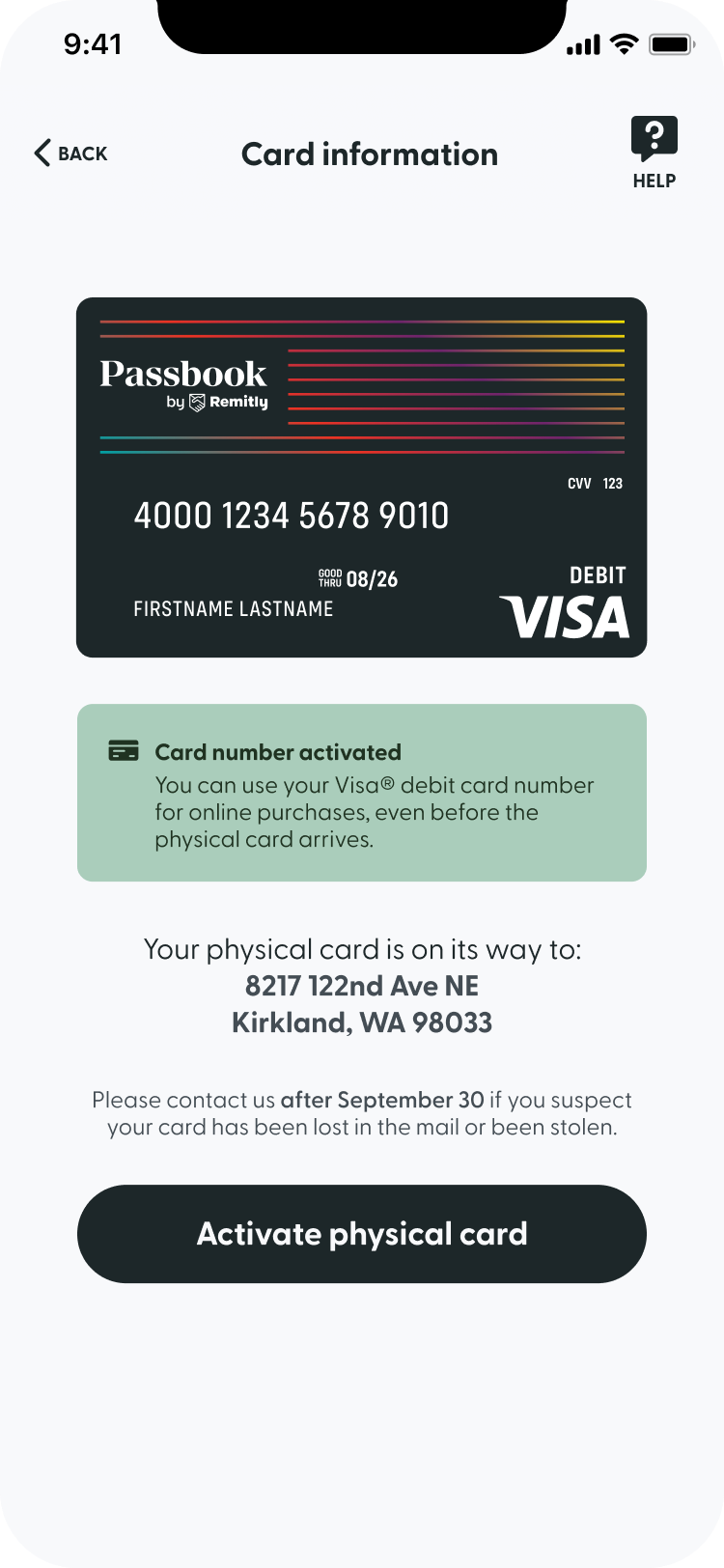 A screenshot of the card info screen in Passbook