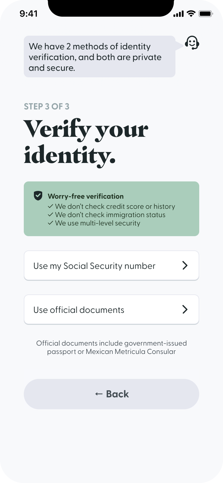 A screenshot of the identity verification screen of the signup flow for Passbook