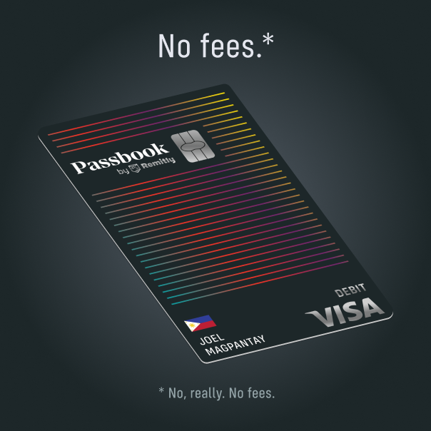 """An ad for Passbook which shows the Passbook debit card with a headline which says """"No fees"""" with an asterisk. The asterisk disclaimer says """"No, really. No fees"""""""
