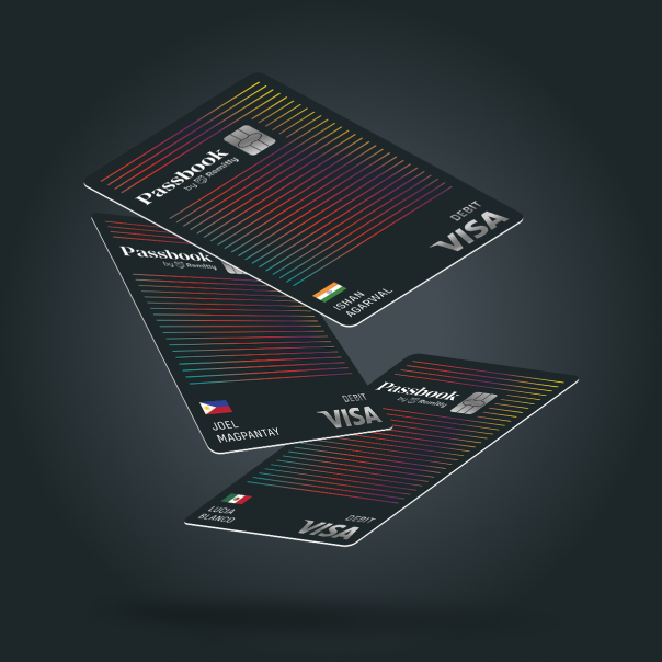An ad for Passbook showing three different Passbook cards falling through the air, each with a different country flag and name on it