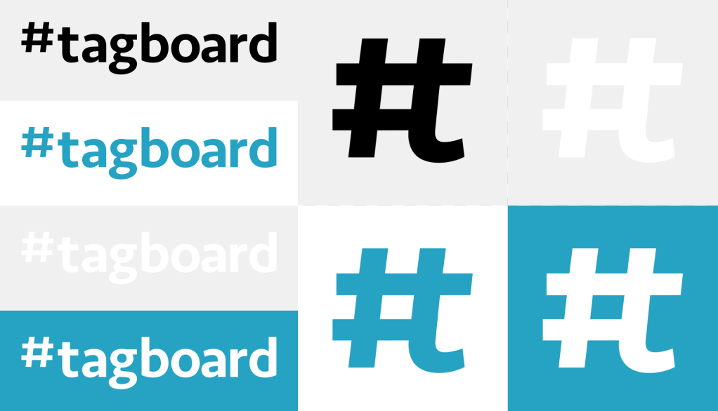 An arrangement of different Tagboard logos set on different colors
