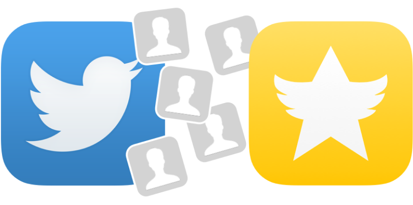 The Twitter icon alongside a yellow icon with a white star on it, two of the arms of the star look like bird wings.
