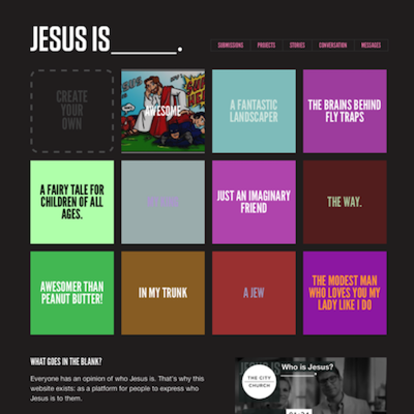 A screenshot of the home page of the Jesus Is website