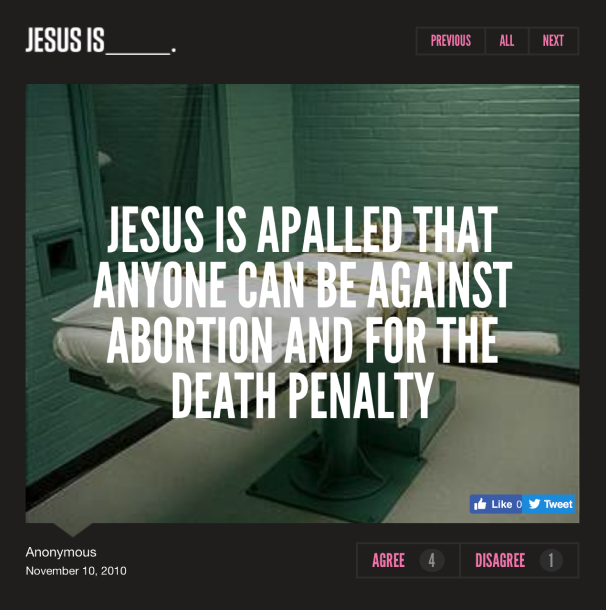 A screenshot of one of the user-created tiles from the Jesus Is website