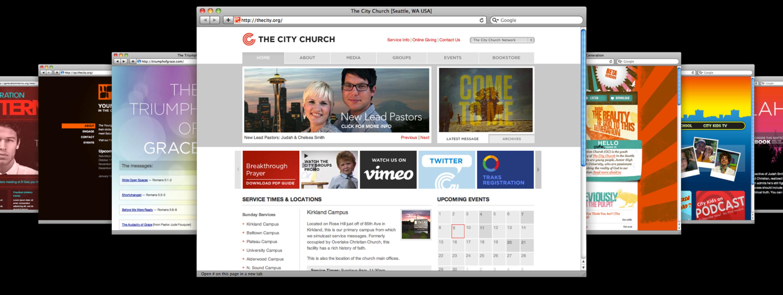 Multiple diverse websites arranged in a fanned pattern.