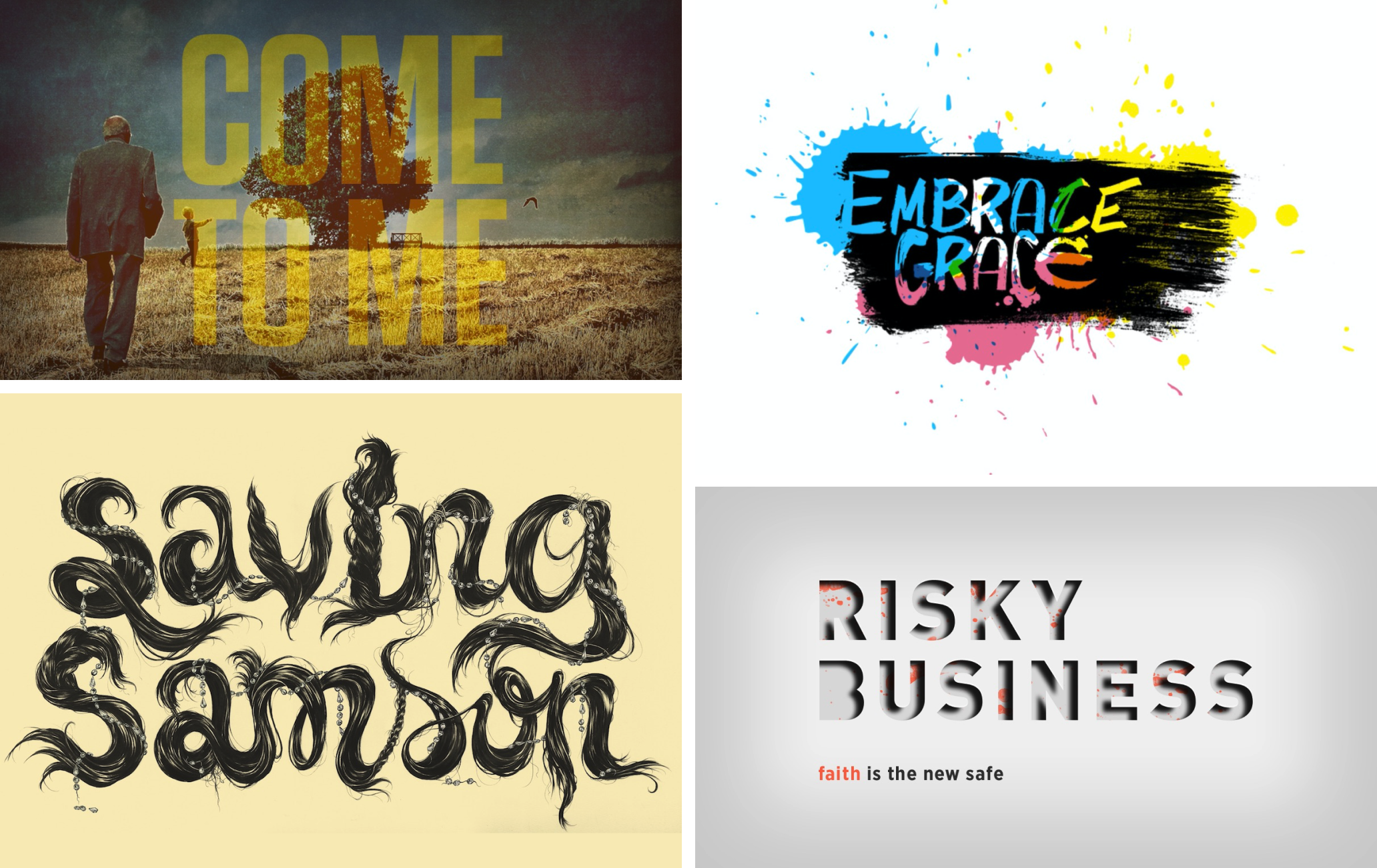 Various graphic compositions with different sermon series titles