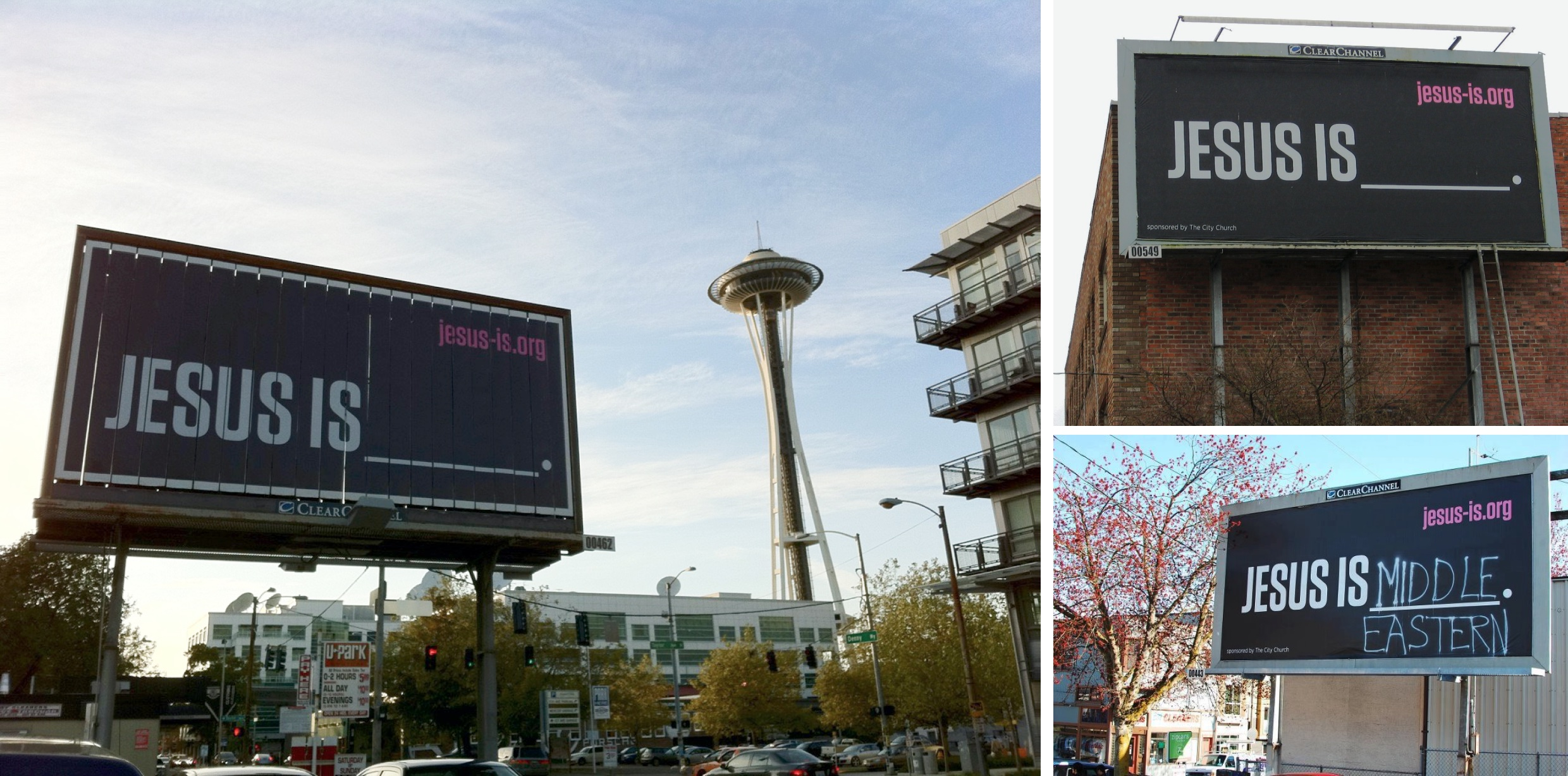 """Various photos of real billboards with the """"JESUS IS ___"""" graphic on them"""
