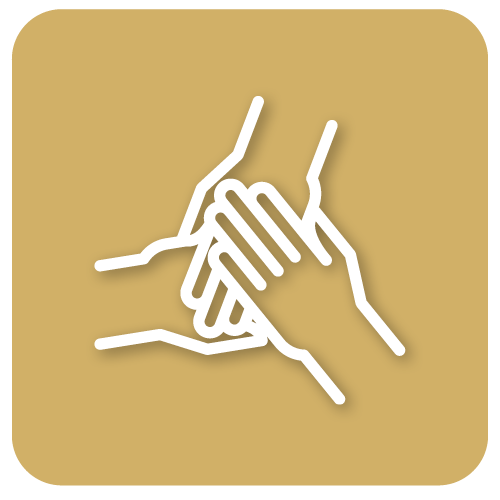Pictogramme de trois mains l'une sur l'autre