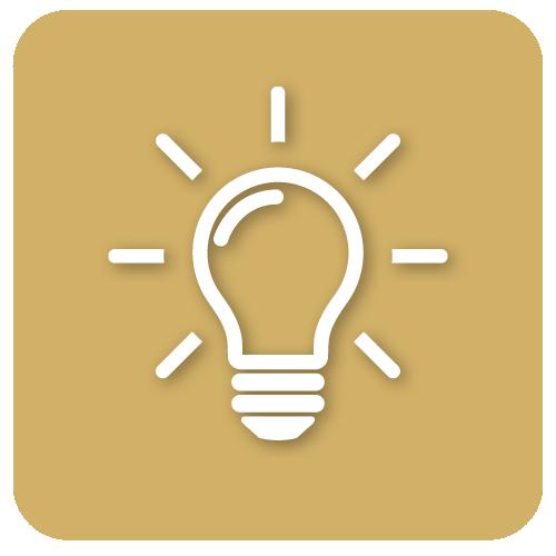 Pictogramme d'une ampoule allumé