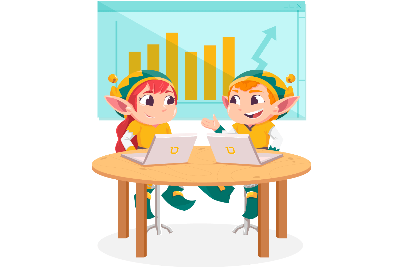 Illustration of two elfs working on their laptop