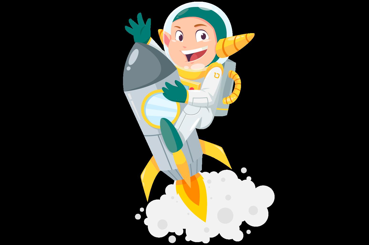 Illustration of an elf riding a rocket
