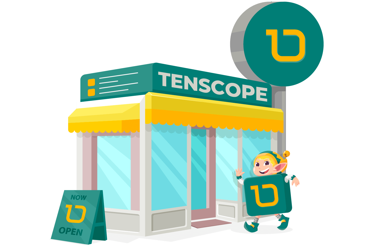 Illustration of a shop with tenscope logo on it